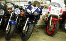 大事なバイクを店内にて保管いたします。