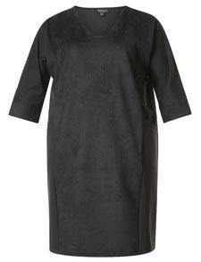 Kleid in Wildlderoptik schwarz für mollige Frauen