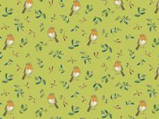 Rotkehlchen, Stoffdesign, grün, kathrin arnold