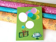 Glückwunschkarte, auf buntem Recyclingpapier, Mitmach-Karte