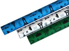 Geschnkpapierrollen blau, weiß, grün, Recyclingpapier, Hannoverpapier