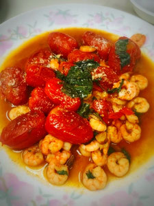 三宅サンマルツァーノ 美味なる料理 小エビのソテー