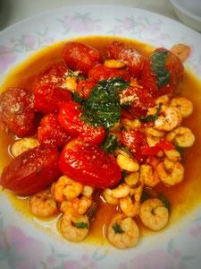 三宅サンマルツァーノ 美味なる料理 小エビのソテー 三宅トマト