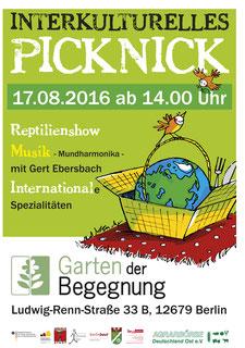 Interkulturelles Picknick. Die Erdkugel im Picknickkorb. Farbenfroh, fröhlich, rot, grün, gelb, weiß.