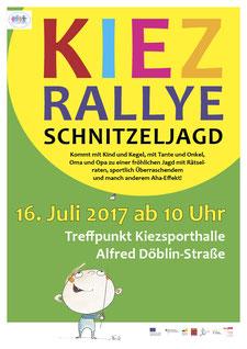 Farbenfrohes Plakat für eine Veranstaltung. Ein kleiner frecher Junge hält an einem dünnen Faden einen riesigen Luftballon, in dem der Veranstaltungstext steht.