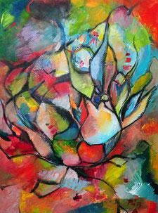 Farbenfrohes abstraktes Werk mit floralen Formen. Acryl auf Papier.