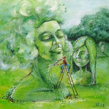Im Garten wachsen große Büsche, die zu weiblichen Köpfen zurechtgeschnitten sind. Im Vordergrund steht ein Mann mit einer Heckenschere auf der Leiter und beschneidet die vordere Skulptur, die das offensichtlich genießt, da sie die Augen schließt.
