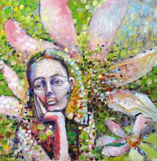 Eine Frau stützt den Kopf nachdenklich in ihre rechte Hand und schaut in die Ferne. Im Hintergrund ist eine große Magnolienblüte zu sehen. Grün, gelb, rosa, hellblau und gold geben dem Bild eine frühlingshafte Stimmung. Dora Maar gewidmet.
