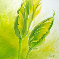Zwei große gelbgrüne französische Tulpen zeigt dieses frühlingshafte Werk. Der Hintergrund ist im gleichen Farbspektrum gemalt.