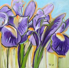 Dieses moderne Acrylbild zeigt Iris in violett, grün und gelb-orange. Die Blumen sind an die Natur angelehnt und doch leicht abstrahiert.