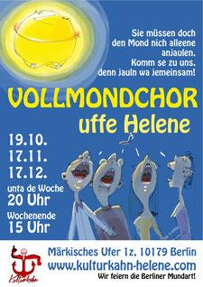 Einladung zum gemeinsamen Singen. Vier lustige Leute singen den Vollmond, der ganz gemütlich lauscht, mit einem Ton an.