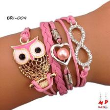 Bracelet hibou rose avec infini et coeur perlé