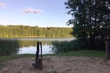 Blick auf die Badestelle vom Bauersee in Wandlitz-Prenden
