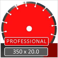 prodito slijpschijf 350mm voor het doorzagen van boordsteen betonklinker en gewapend beton met een benzine doorslijper met een opname van 20.0
