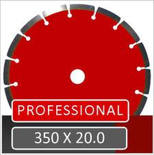 prodito slijpschijf 350mm met 20mm opname voor zeer intensief zagen in beton met een benzine doorslijper