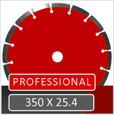 prodito slijpschijf 350mm met 25.4mm opname voor zeer intensief zagen in beton met een benzine doorslijper