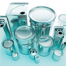 Metalldosen Dosen Metallkanister Kanister Metalleimer Eimer Metallflaschen Metallverpackungen HUBER Packaging