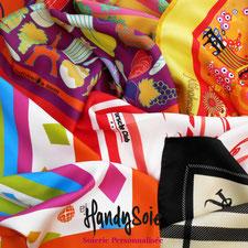 Foulards et carrés de soie que nous avons imaginés et fabriqués