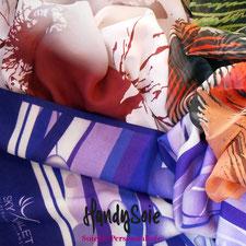 Echarpes, étoles en soie, laine et soie, coton et soie, modal et cachemire que nous avons dessinées et fabriquées pour nos clients