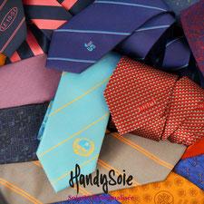 Cravates soie , polyester que nous avons réalisées