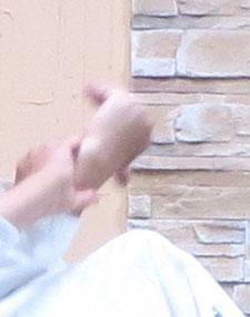 ④の拡大 母指先(魂氣)の方向は地、反りによって魂氣が撓側を経て受けの同名の側頸部から腰背部に響いて取りの体側へ結ぶと残心