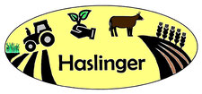 Logo Haslinger Feld, Acker, Traktor, Pflanze, Rind, Getreide