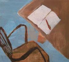 """Eva Hradil  """"Tischbein hautfarben"""" 2005, Eitempera auf LW, 80 x 90 cm"""