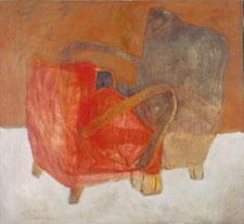 """Eva Hradil """"an- und abwesendes Modell"""" 2003, Teil der Diplomarbeit, Eitempera auf LW, 130 x 130 m"""