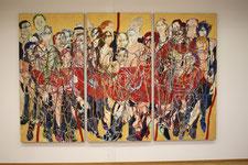 """""""Wiener Reigen/Tango-Organ"""" 2011-2013, Eitempera / Halbkreide-grund / LW, 200 x 300 cm, Triptychon"""