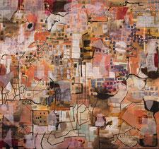 """Eva Hradil """"Der Sammler (oder """"Die Königin"""")"""", 2015/2016, Eitempera und Papier auf Molino, 130 x 140 cm"""