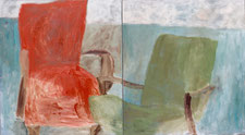 "Eva Hradil ""Sesseldiptychon"" oder ""Lehnsessel Angewandte"" 2003, Öl auf Leinwand, 90 x 160 cm, Diptychon"