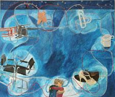 "Eva Hradil ""abrazos y rondas"" 2018, Eitempera auf Halbkreidegrund auf Leinwand, 110 x 130 cm"