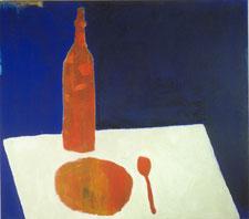 """""""Malermahl"""" 1996, Pigmente und Acrylbinder auf Leinwand, 80 x 90 cm"""