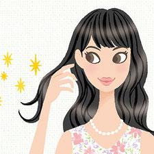 Webサイト msn Woman P&G広告 ヘアケアイラスト 髪型