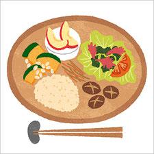 マイナビ『シニアのための健康ひとり分ごはん』食べ物イラスト 健康イラスト