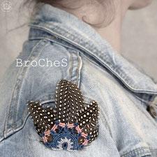 broche macramé plume bois kp bijoux