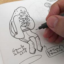 Blick in mein Skizzenbuch - Illustration Stress und Handysucht, Zeichnung mit Tusche und digitaler Farbe von Frank Schulz Art, zeigt einen Jungen der schwitzt als Digitalzombie der sein Smartphone checkt