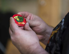 Button mit Wappen der Schützengesellschaft Esslingen