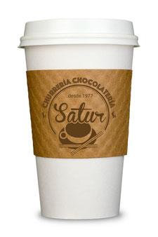 Simulación logotipo a 1 tinta sobre vaso para llevar.