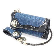 未使用 ビーズ屋公ちゃん 長財布 クロコダイル コードバン 本藍染め ロングウォレット Fタイプ