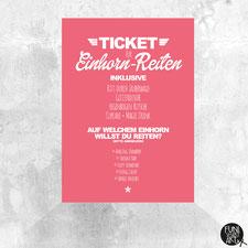 Einhorn Postkarte Einhorn-Reiten Ticket