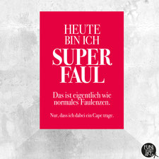 Postkarte Superfaul mit Cape