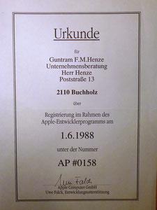 Apple Entwickler-Urkunde von 1988
