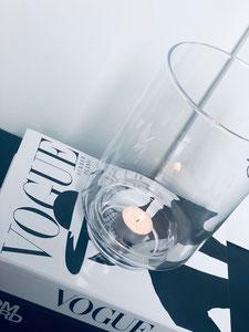 vase transparent, bougeoir transparent