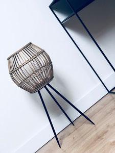 lanterne bambou, lanterne bois et noir, lanterne sur pied, grande lanterne, webshop déco belgique
