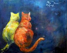 Bild mit zwei Katzen und einer Maus