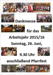 Plakat von Dankmesse und Pfarrfest zum Jahresabschluss 2015/16 (PDF).