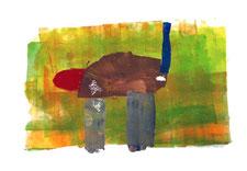 Siebdruckbild - durchmischt farbiger Hintergrund mit etwas Katzenähnlichem darauf abgebildet. Graue Beine, brauner Körper, roter Kopf und blauer Schwanz der sich in die Höhe streckt.