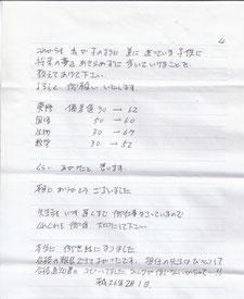 偏差値が大幅にアップした卒業生のお母様からの手紙④