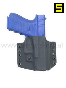 Kydex OWB Gürtelholster für Glock Pistolen wie Glock 17, Glock 19, Glock 43, Glock 43X RAIL